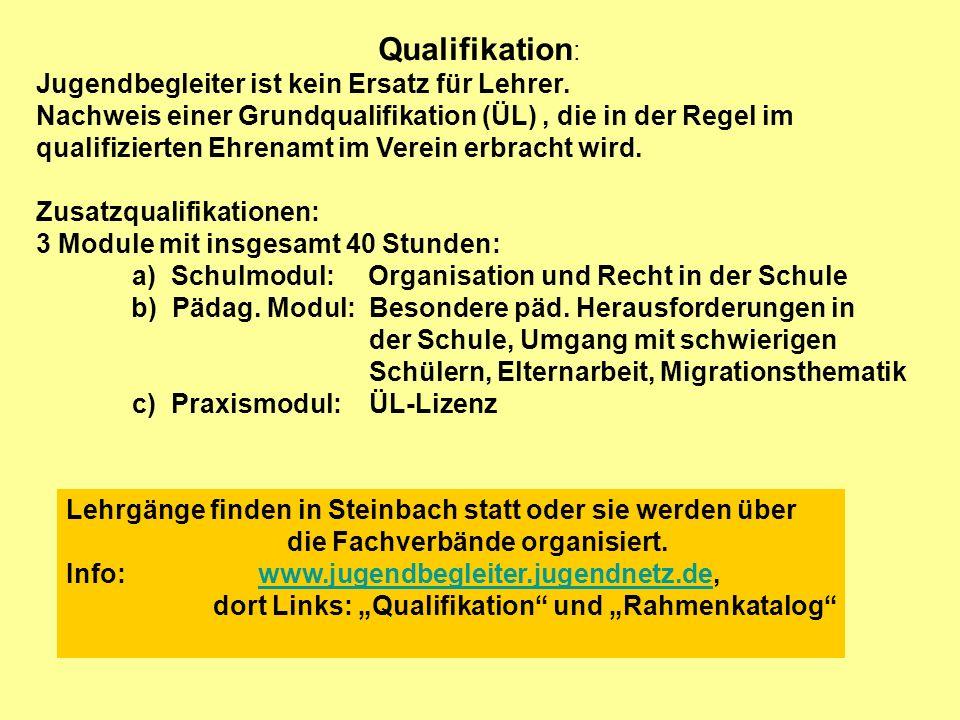 Qualifikation : Jugendbegleiter ist kein Ersatz für Lehrer. Nachweis einer Grundqualifikation (ÜL), die in der Regel im qualifizierten Ehrenamt im Ver