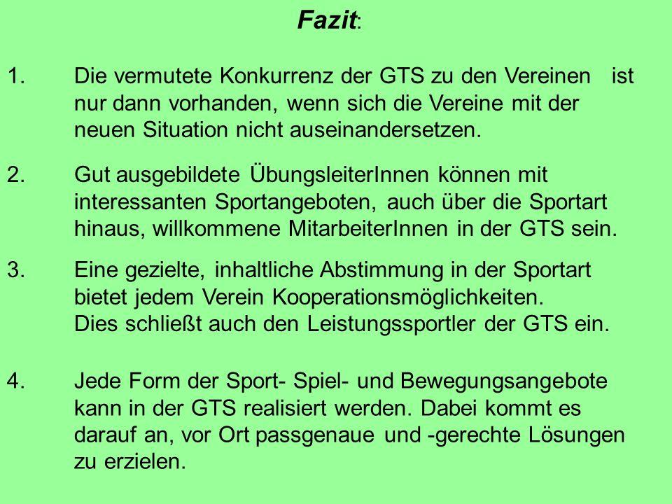 Fazit : 1. Die vermutete Konkurrenz der GTS zu den Vereinen ist nur dann vorhanden, wenn sich die Vereine mit der neuen Situation nicht auseinanderset