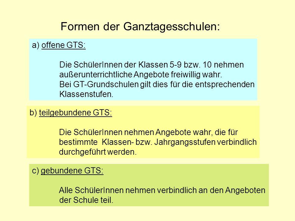 Formen der Ganztagesschulen: a) offene GTS: Die SchülerInnen der Klassen 5-9 bzw. 10 nehmen außerunterrichtliche Angebote freiwillig wahr. Bei GT-Grun