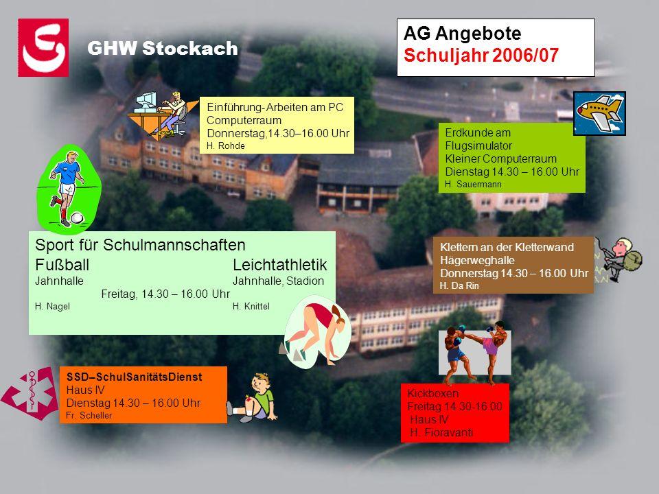 AG Angebote Schuljahr 2006/07 GHW Stockach Einführung- Arbeiten am PC Computerraum Donnerstag,14.30–16.00 Uhr H. Rohde Erdkunde am Flugsimulator Klein