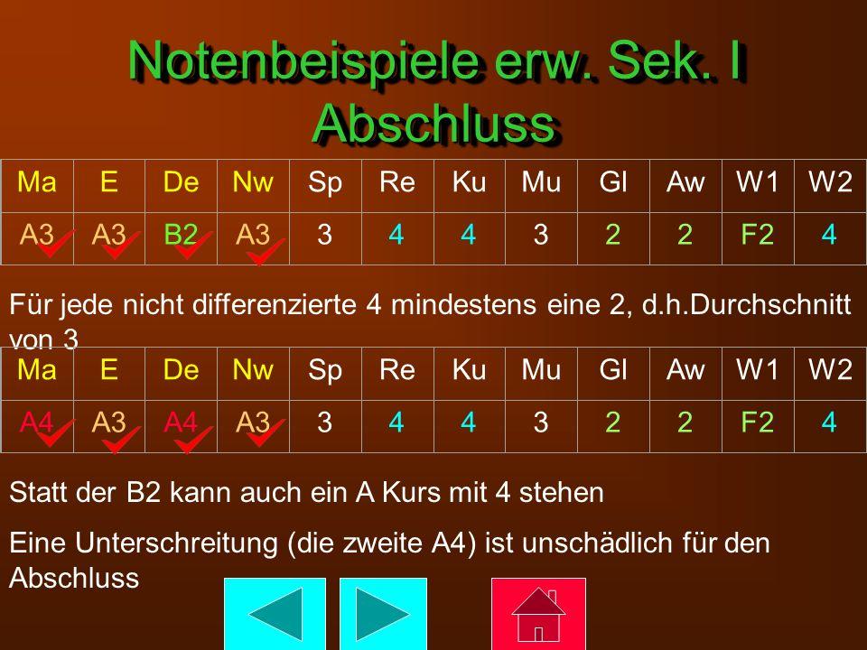 Notenbeispiele erw. Sek. I Abschluss MaEDeNwSpReKuMuGlAwW1W2 A3 B2A3344322F24 Für jede nicht differenzierte 4 mindestens eine 2, d.h.Durchschnitt von
