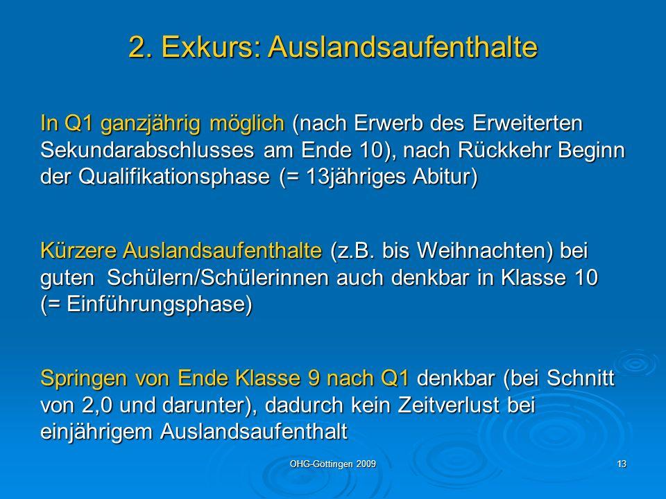 OHG-Göttingen 200913 2. Exkurs: Auslandsaufenthalte In Q1 ganzjährig möglich (nach Erwerb des Erweiterten Sekundarabschlusses am Ende 10), nach Rückke