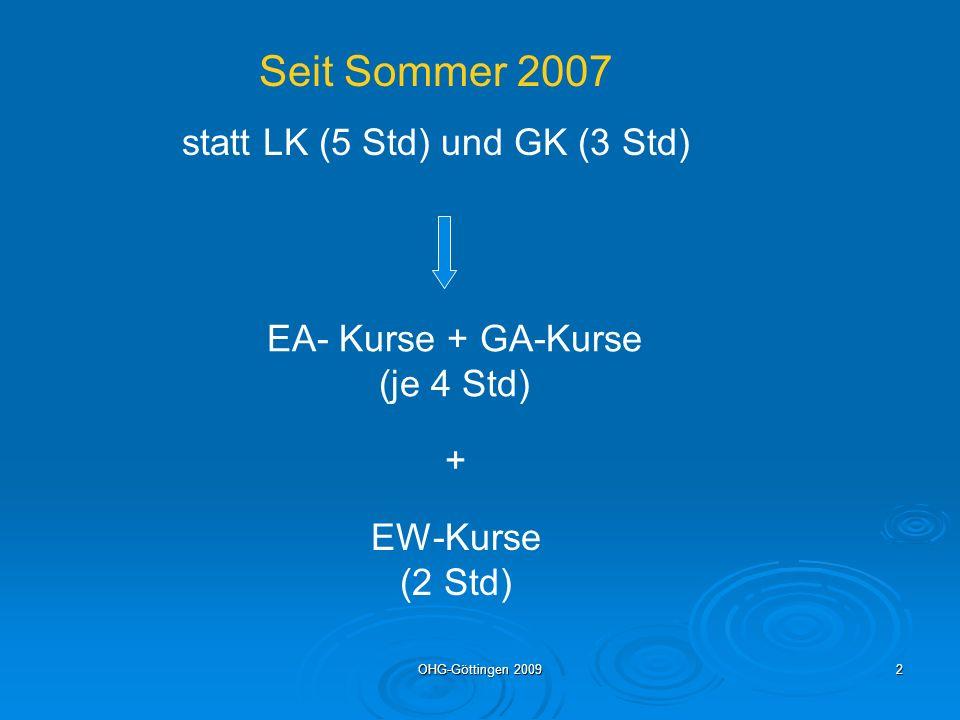 OHG-Göttingen 20092 Seit Sommer 2007 statt LK (5 Std) und GK (3 Std) EA- Kurse + GA-Kurse (je 4 Std) + EW-Kurse (2 Std)
