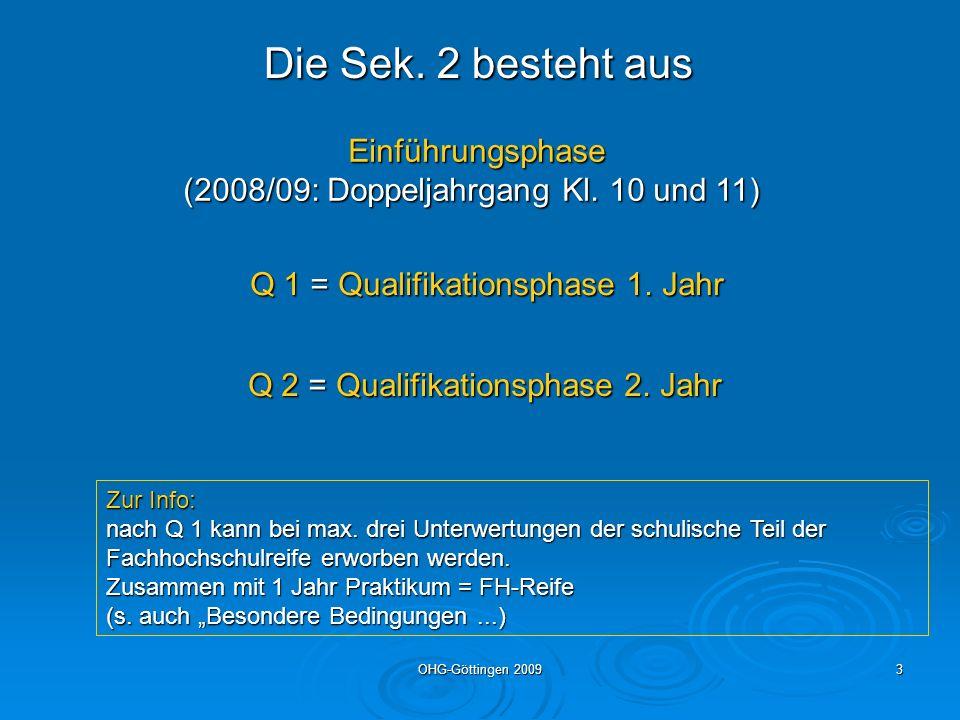 OHG-Göttingen 20093 Die Sek. 2 besteht aus Einführungsphase Einführungsphase (2008/09: Doppeljahrgang Kl. 10 und 11) Q 1 = Qualifikationsphase 1. Jahr