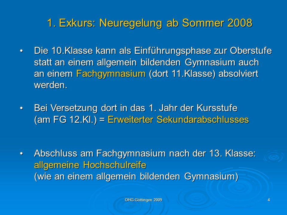 OHG-Göttingen 20094 1. Exkurs: Neuregelung ab Sommer 2008 Die 10.Klasse kann als Einführungsphase zur Oberstufe statt an einem allgemein bildenden Gym