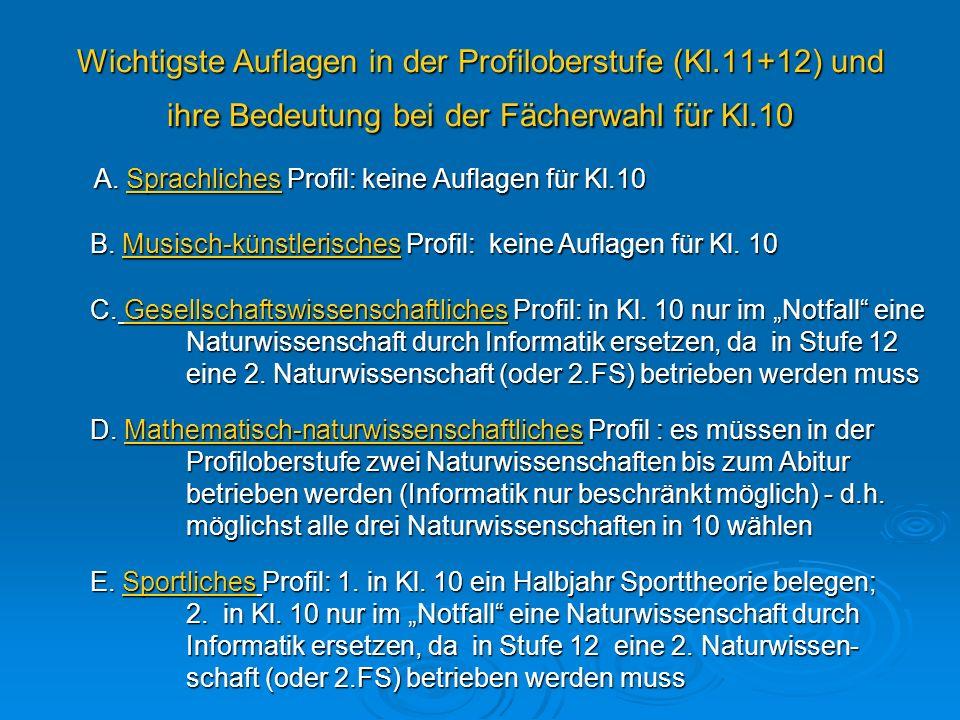 Wichtigste Auflagen in der Profiloberstufe (Kl.11+12) und ihre Bedeutung bei der Fächerwahl für Kl.10 A. Sprachliches Profil: keine Auflagen für Kl.10
