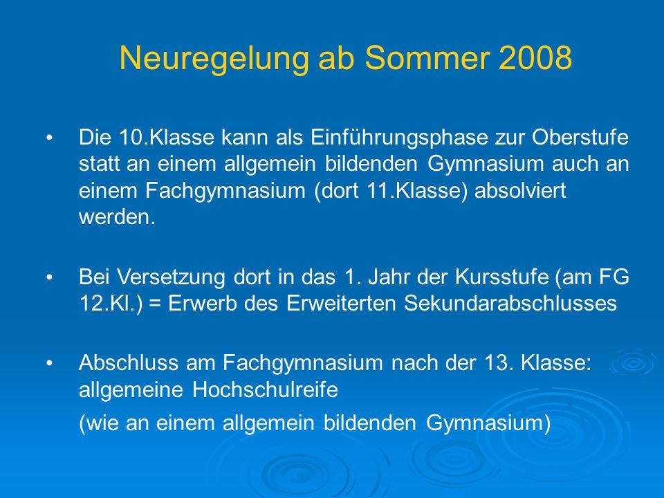 Neuregelung ab Sommer 2008 Die 10.Klasse kann als Einführungsphase zur Oberstufe statt an einem allgemein bildenden Gymnasium auch an einem Fachgymnasium (dort 11.Klasse) absolviert werden.