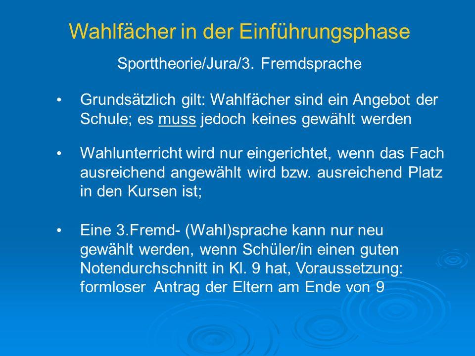 Wahlfächer in der Einführungsphase Sporttheorie/Jura/3.