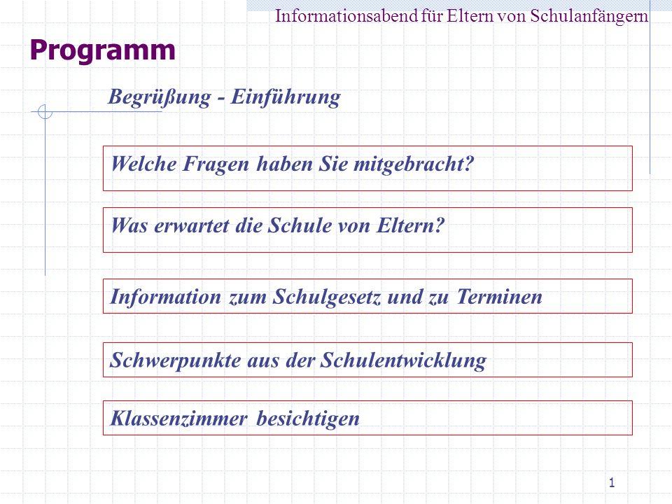 1 Programm Informationsabend für Eltern von Schulanfängern Begrüßung - Einführung Was erwartet die Schule von Eltern? Information zum Schulgesetz und