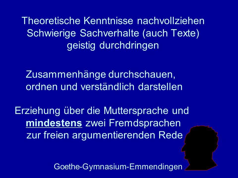 Theoretische Kenntnisse nachvollziehen Schwierige Sachverhalte (auch Texte) geistig durchdringen Goethe-Gymnasium-Emmendingen Erziehung über die Mutte