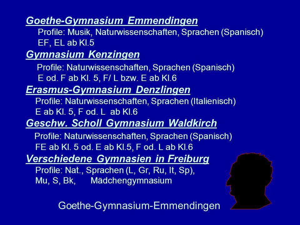 Goethe-Gymnasium Emmendingen Profile: Musik, Naturwissenschaften, Sprachen (Spanisch) EF, EL ab Kl.5 Gymnasium Kenzingen Profile: Naturwissenschaften,