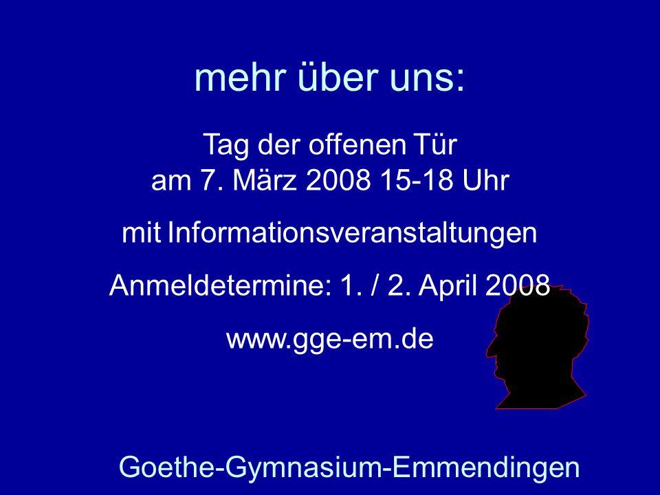 mehr über uns: Goethe-Gymnasium-Emmendingen Um Ihr Firmenlogo auf diese Folie einzufügen: Im Menü Einfügen Wählen Sie Grafik Wählen Sie Ihre Logodatei
