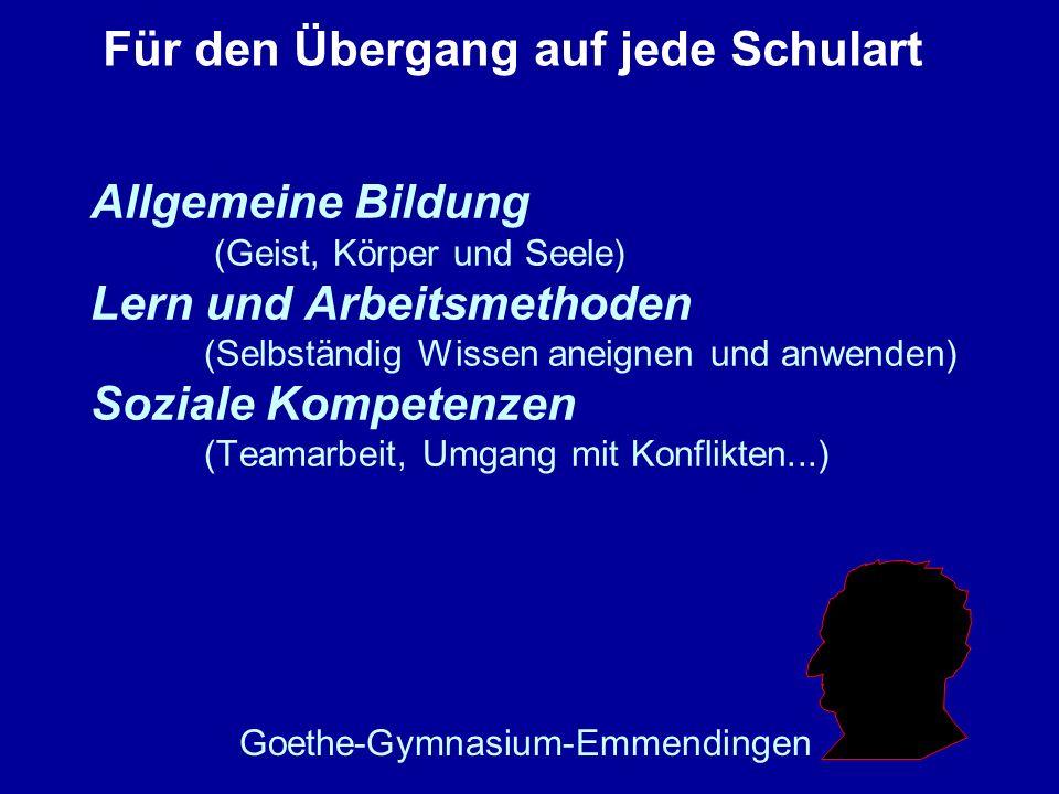 Allgemeine Bildung (Geist, Körper und Seele) Lern und Arbeitsmethoden (Selbständig Wissen aneignen und anwenden) Soziale Kompetenzen (Teamarbeit, Umga