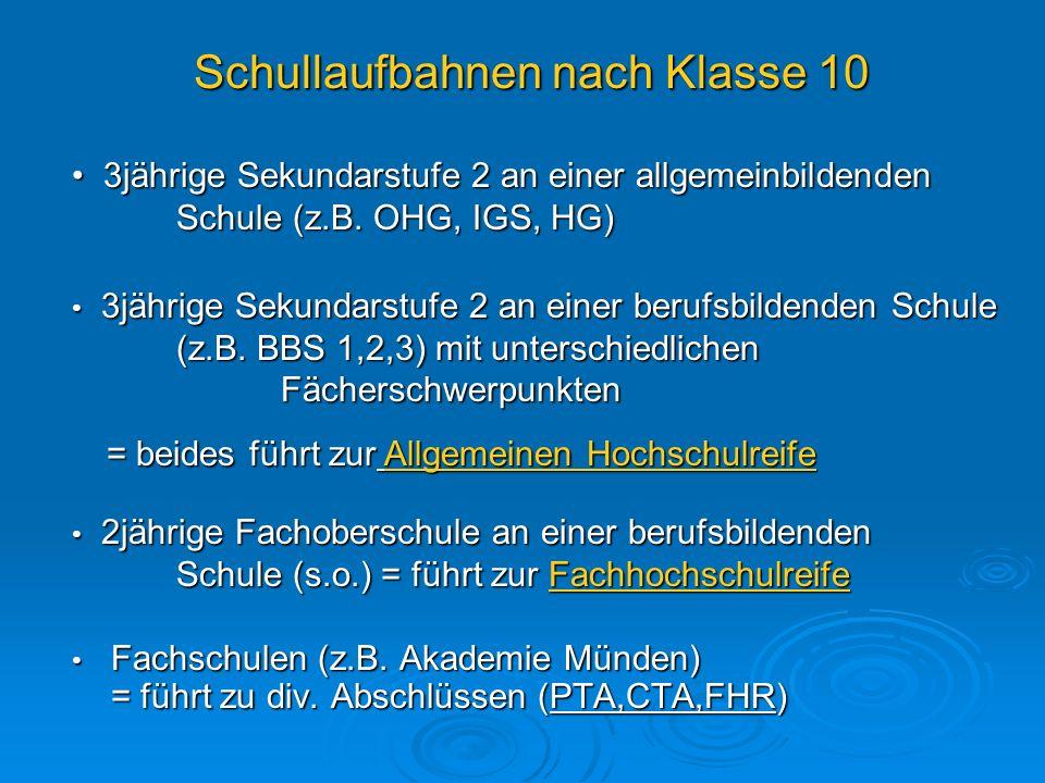 Schullaufbahnen nach Klasse 10 Fachschulen (z.B. Akademie Münden) = führt zu div. Abschlüssen (PTA,CTA,FHR) Fachschulen (z.B. Akademie Münden) = führt