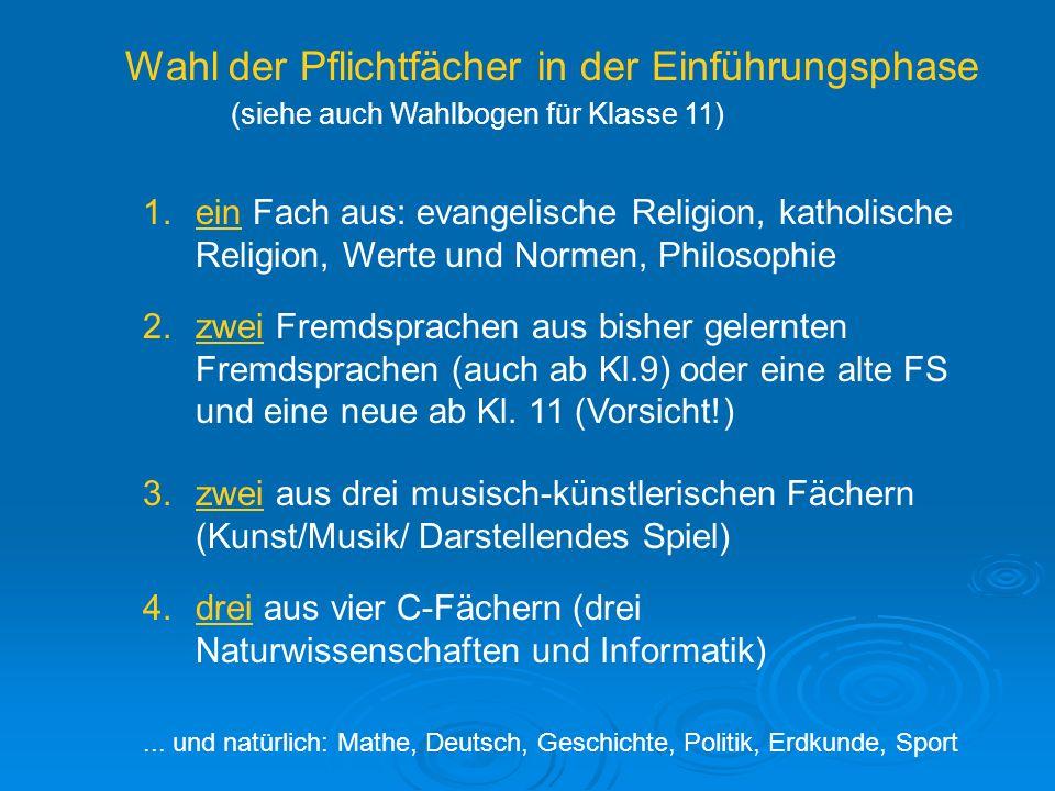 Wahl der Pflichtfächer in der Einführungsphase (siehe auch Wahlbogen für Klasse 11) 1.ein Fach aus: evangelische Religion, katholische Religion, Werte