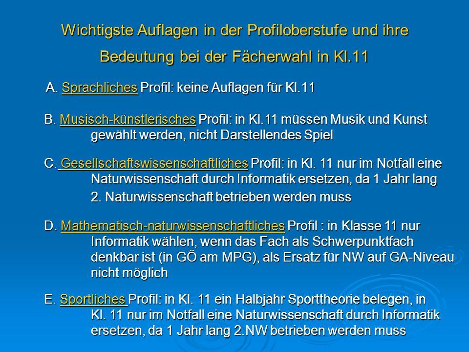 Wichtigste Auflagen in der Profiloberstufe und ihre Bedeutung bei der Fächerwahl in Kl.11 A. Sprachliches Profil: keine Auflagen für Kl.11 B. Musisch-