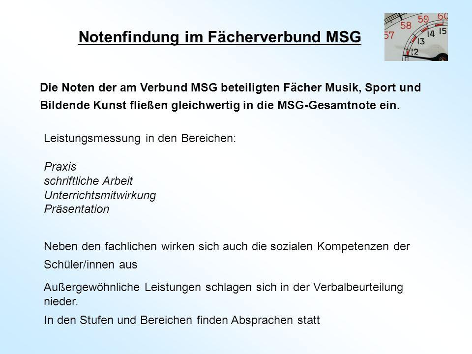 Die Noten der am Verbund MSG beteiligten Fächer Musik, Sport und Bildende Kunst fließen gleichwertig in die MSG-Gesamtnote ein.