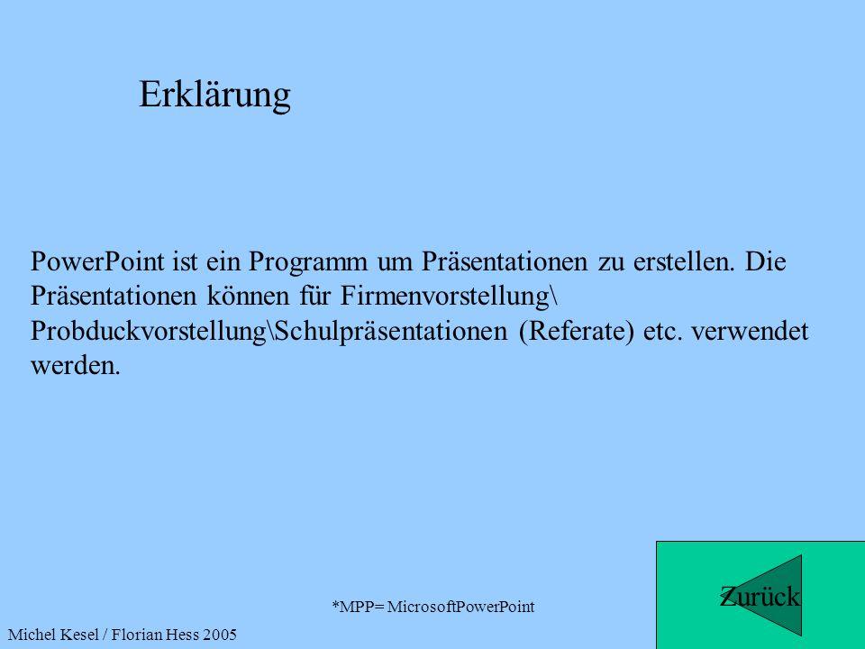*MPP= MicrosoftPowerPoint PowerPoint ist ein Programm um Präsentationen zu erstellen. Die Präsentationen können für Firmenvorstellung\ Probduckvorstel