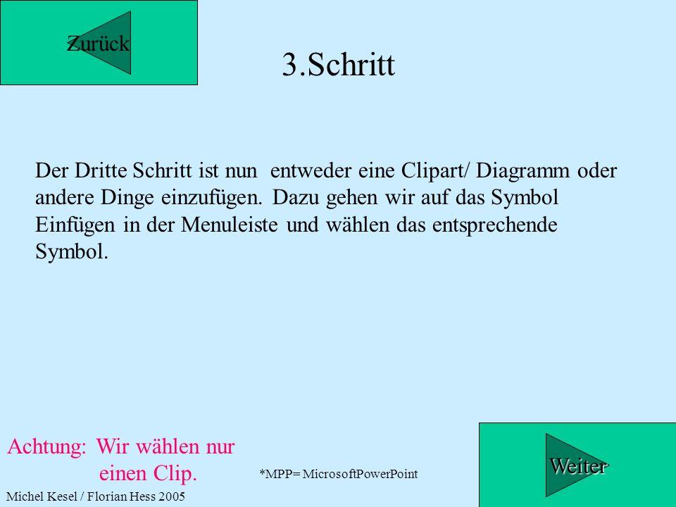 *MPP= MicrosoftPowerPoint 3.Schritt Der Dritte Schritt ist nun entweder eine Clipart/ Diagramm oder andere Dinge einzufügen. Dazu gehen wir auf das Sy