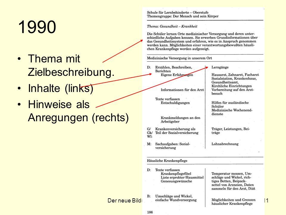 Der neue Bildungsplan 200711 1990 Thema mit Zielbeschreibung.