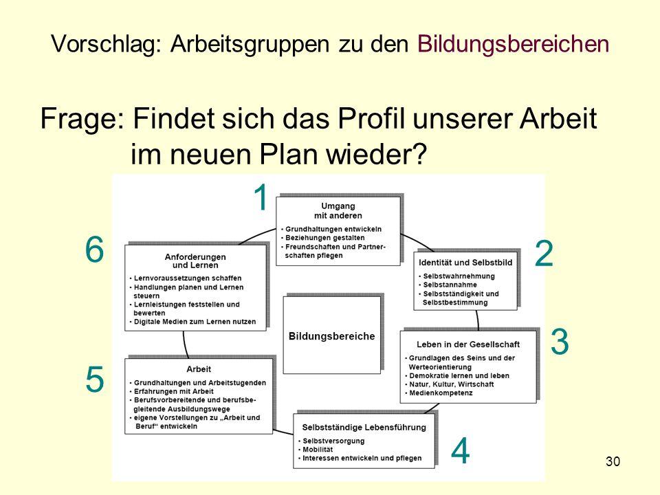 Der neue Bildungsplan 200730 Vorschlag: Arbeitsgruppen zu den Bildungsbereichen Frage: Findet sich das Profil unserer Arbeit im neuen Plan wieder.