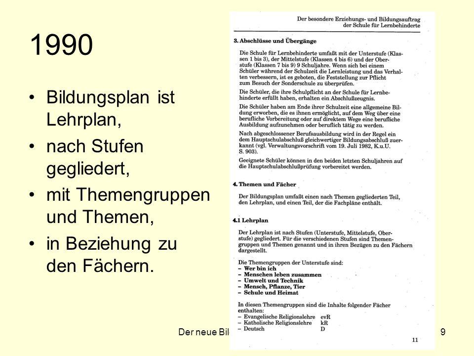 Der neue Bildungsplan 20079 1990 Bildungsplan ist Lehrplan, nach Stufen gegliedert, mit Themengruppen und Themen, in Beziehung zu den Fächern.