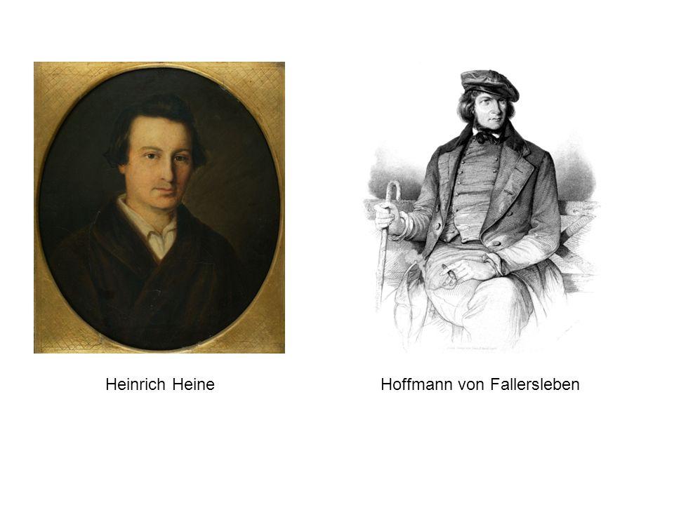 Hoffmann von Fallersleben– Heinrich Heine (1844) Im düstern Auge keine Träne, Sie sitzen am Webstuhl und fletschen die Zähne: Deutschland, wir weben dein Leichentuch, Wir weben hinein den dreifachen Fluch - Wir weben, wir weben.