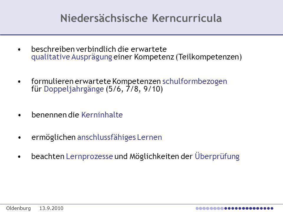 Oldenburg 13.9.2010 beschreiben verbindlich die erwartete qualitative Ausprägung einer Kompetenz (Teilkompetenzen) formulieren erwartete Kompetenzen s