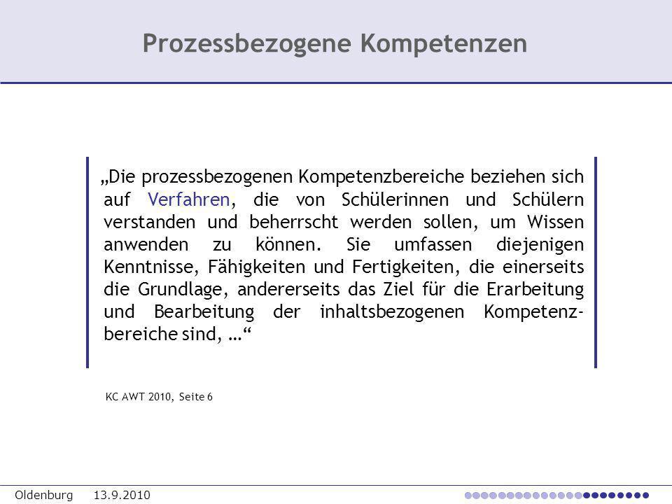 Oldenburg 13.9.2010 Die prozessbezogenen Kompetenzbereiche beziehen sich auf Verfahren, die von Schülerinnen und Schülern verstanden und beherrscht we