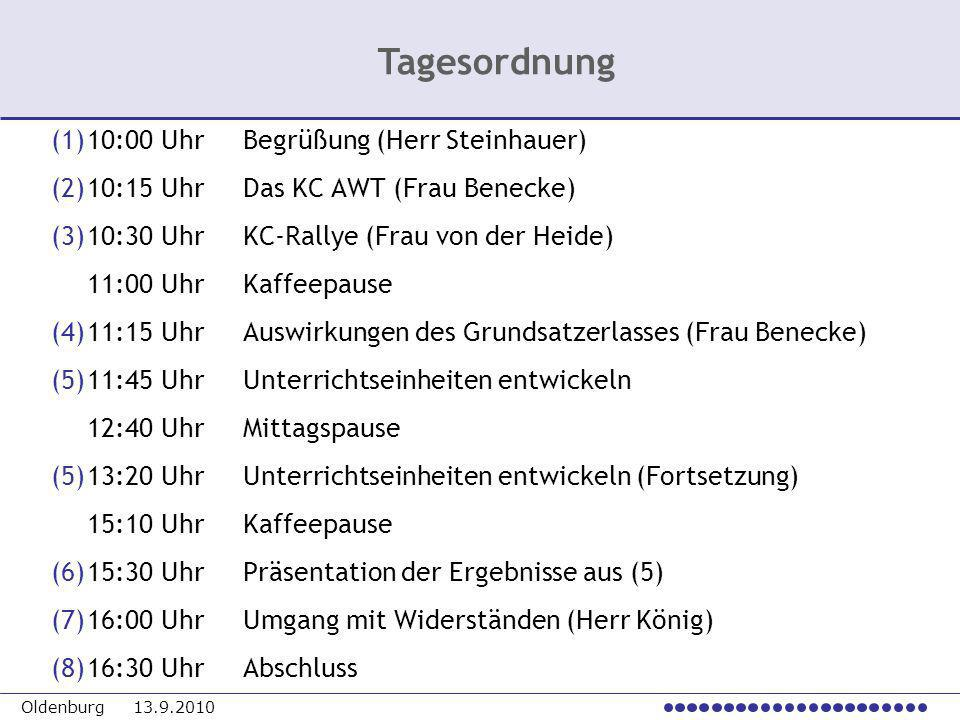 Oldenburg 13.9.2010 (1)10:00 UhrBegrüßung (Herr Steinhauer) (2)10:15 UhrDas KC AWT (Frau Benecke) (3)10:30 UhrKC-Rallye (Frau von der Heide) 11:00 Uhr