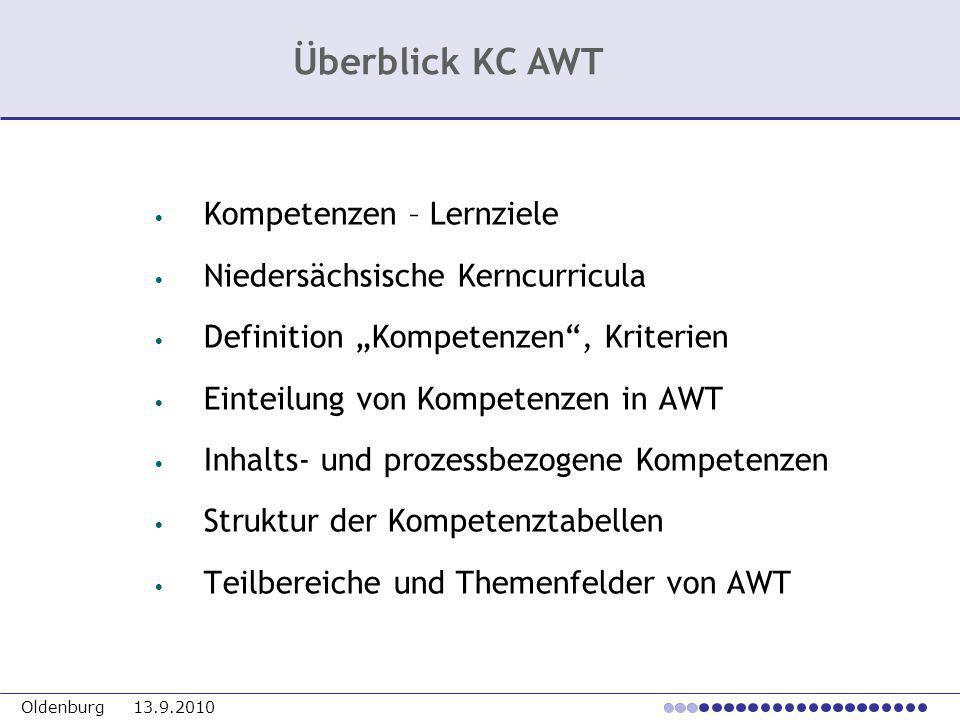 Oldenburg 13.9.2010 Kompetenzen – Lernziele Niedersächsische Kerncurricula Definition Kompetenzen, Kriterien Einteilung von Kompetenzen in AWT Inhalts