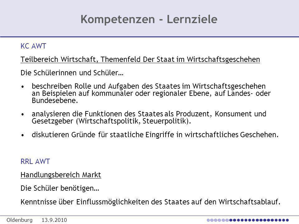 Oldenburg 13.9.2010 KC AWT Teilbereich Wirtschaft, Themenfeld Der Staat im Wirtschaftsgeschehen Die Schülerinnen und Schüler… beschreiben Rolle und Au