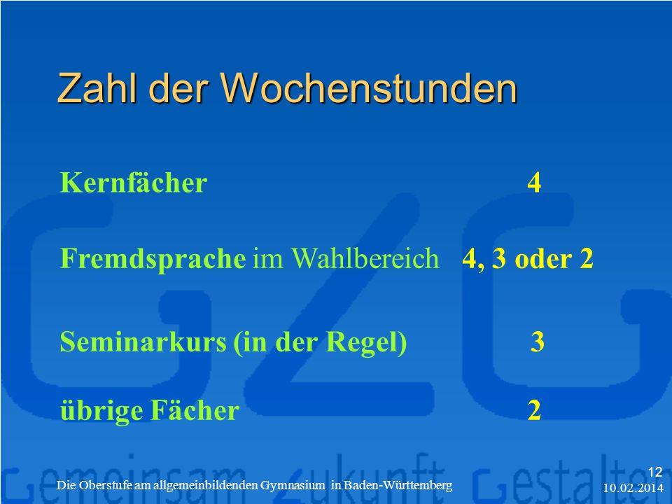 Zahl der Wochenstunden Kernfächer4 Fremdsprache im Wahlbereich4, 3 oder 2 Seminarkurs (in der Regel) 3 übrige Fächer2 10.02.2014 Die Oberstufe am allgemeinbildenden Gymnasium in Baden-Württemberg 12