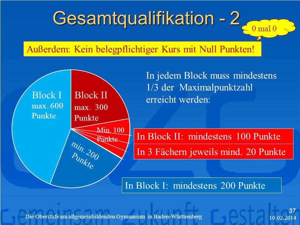 10.02.2014 Die Oberstufe am allgemeinbildenden Gymnasium in Baden-Württemberg 37 Gesamtqualifikation - 2 Block I max.