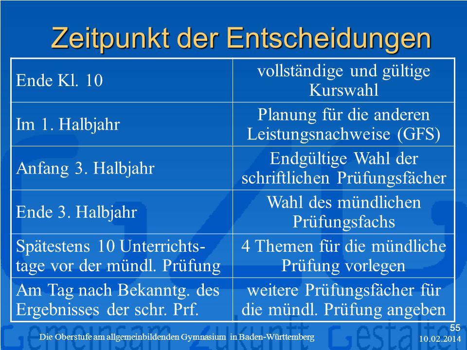 10.02.2014 Die Oberstufe am allgemeinbildenden Gymnasium in Baden-Württemberg 55 Zeitpunkt der Entscheidungen Ende Kl.
