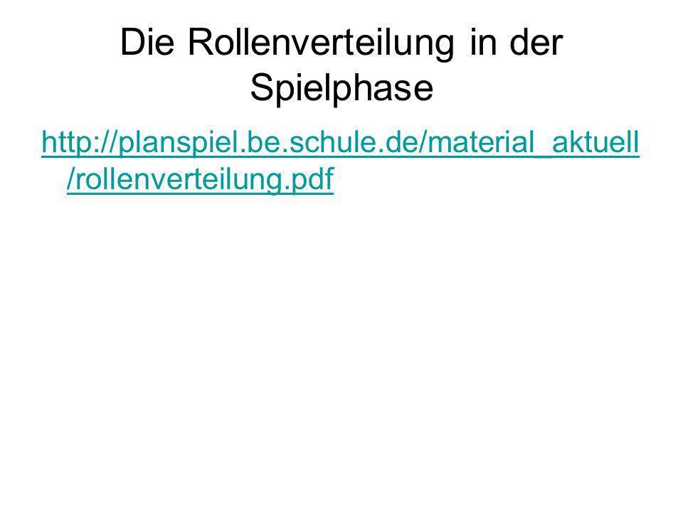 Die Rollenverteilung in der Spielphase http://planspiel.be.schule.de/material_aktuell /rollenverteilung.pdf