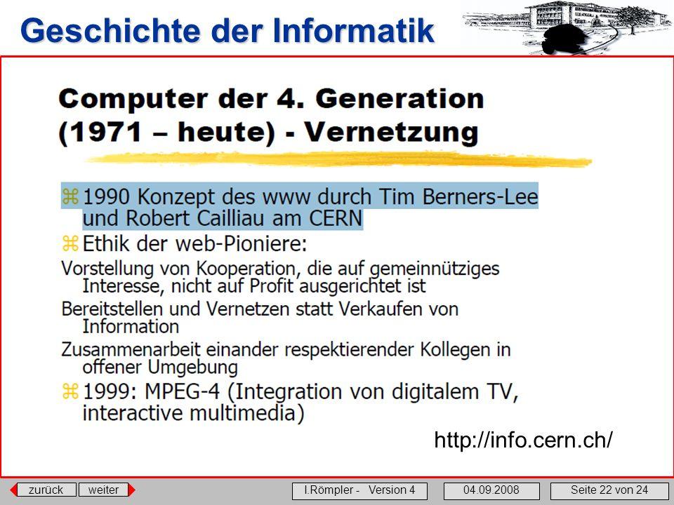 zurückweiter I.Römpler - Version 404.09.2008Seite 22 von 24 Geschichte der Informatik http://info.cern.ch/