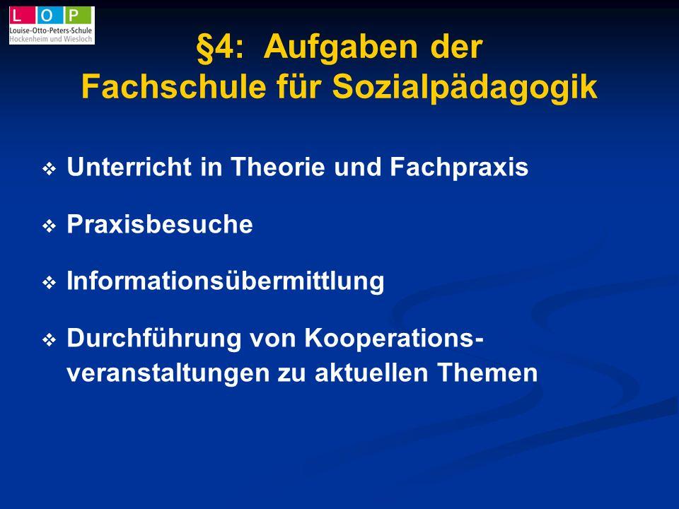 §4: Aufgaben der Fachschule für Sozialpädagogik Unterricht in Theorie und Fachpraxis Praxisbesuche Informationsübermittlung Durchführung von Kooperati