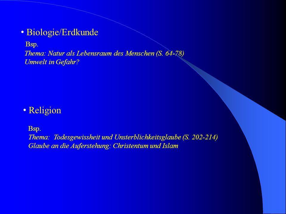 Biologie/Erdkunde Bsp. Thema: Natur als Lebensraum des Menschen (S. 64-78) Umwelt in Gefahr? Religion Bsp. Thema: Todesgewissheit und Unsterblichkeits