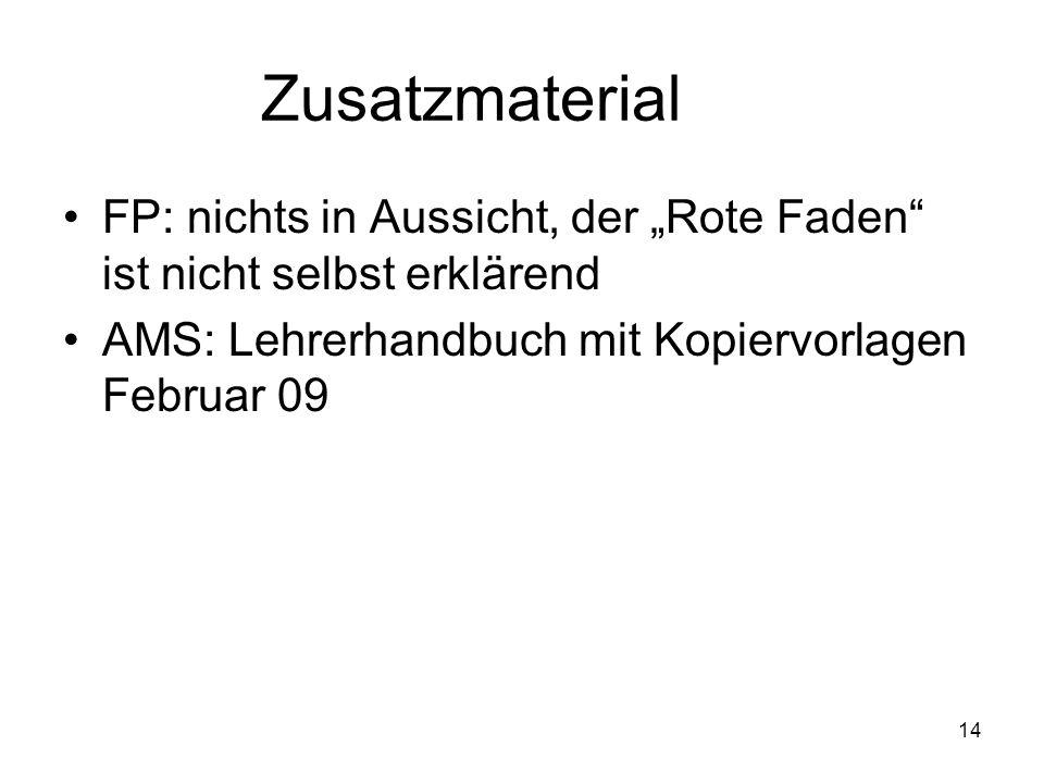 14 Zusatzmaterial FP: nichts in Aussicht, der Rote Faden ist nicht selbst erklärend AMS: Lehrerhandbuch mit Kopiervorlagen Februar 09