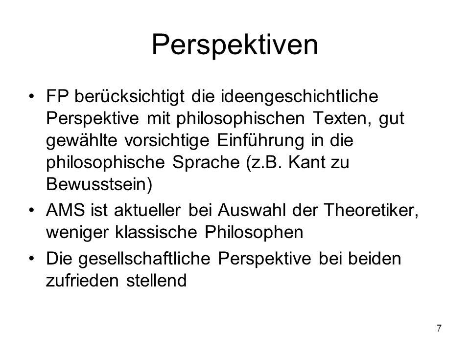 7 Perspektiven FP berücksichtigt die ideengeschichtliche Perspektive mit philosophischen Texten, gut gewählte vorsichtige Einführung in die philosophische Sprache (z.B.