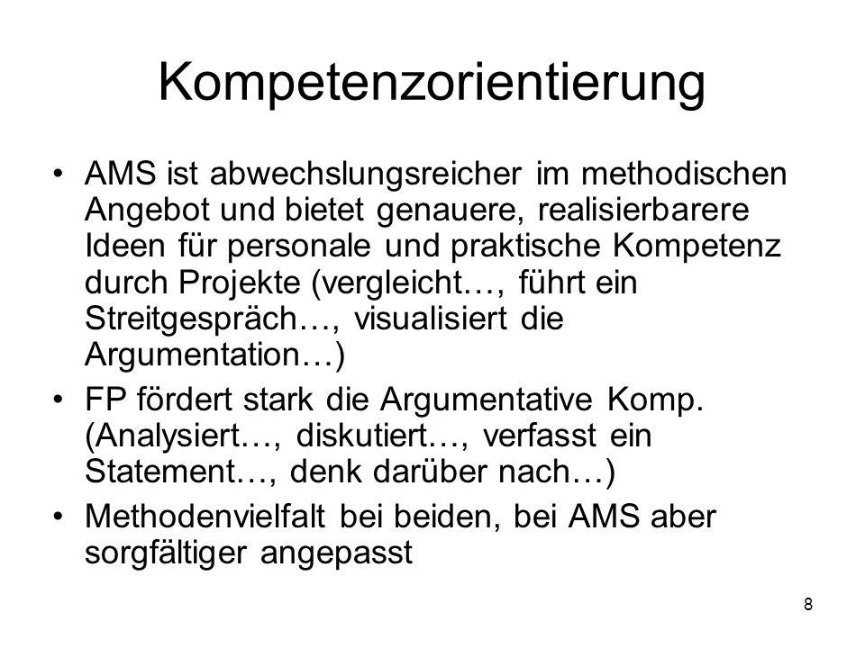 8 Kompetenzorientierung AMS ist abwechslungsreicher im methodischen Angebot und bietet genauere, realisierbarere Ideen für personale und praktische Kompetenz durch Projekte (vergleicht…, führt ein Streitgespräch…, visualisiert die Argumentation…) FP fördert stark die Argumentative Komp.