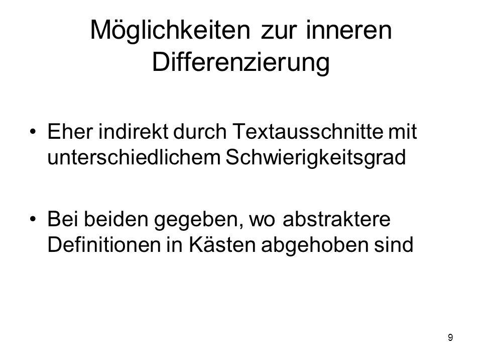 9 Möglichkeiten zur inneren Differenzierung Eher indirekt durch Textausschnitte mit unterschiedlichem Schwierigkeitsgrad Bei beiden gegeben, wo abstra