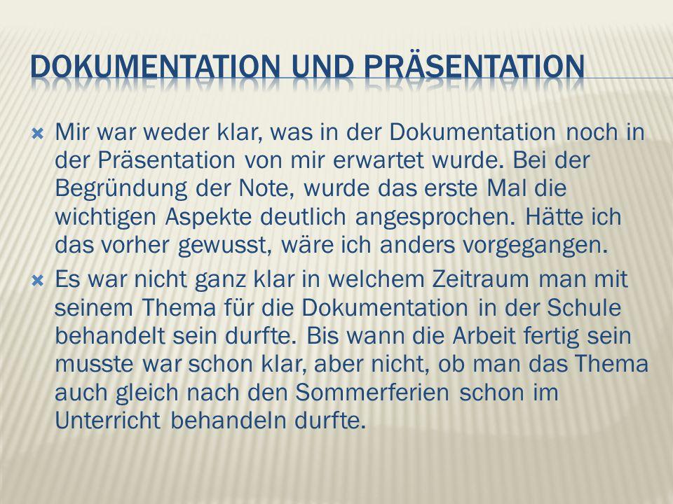 Mir war weder klar, was in der Dokumentation noch in der Präsentation von mir erwartet wurde.