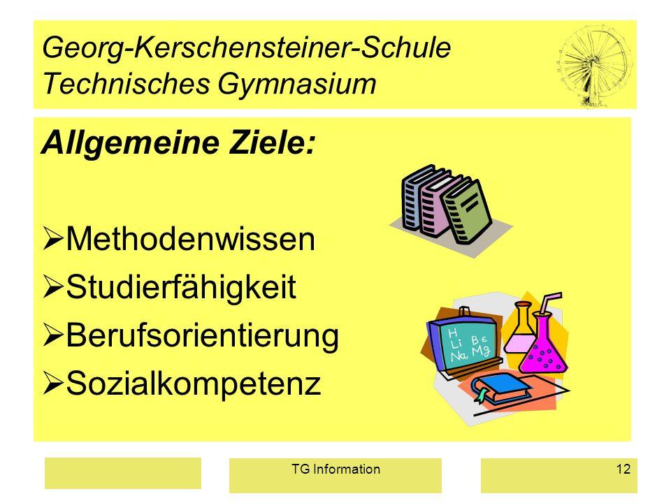 TG Information12 Georg-Kerschensteiner-Schule Technisches Gymnasium Allgemeine Ziele: Methodenwissen Studierfähigkeit Berufsorientierung Sozialkompete