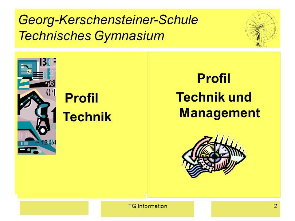 TG Information2 Georg-Kerschensteiner-Schule Technisches Gymnasium Profil Technik Profil Technik und Management