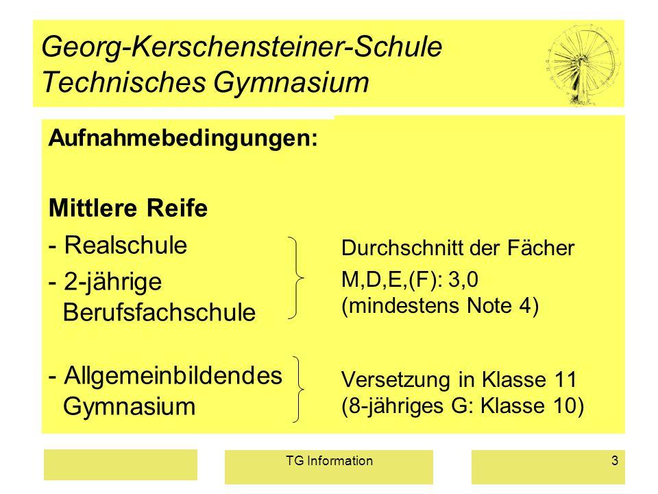 TG Information3 Georg-Kerschensteiner-Schule Technisches Gymnasium Aufnahmebedingungen: Mittlere Reife - Realschule - 2-jährige Berufsfachschule - All