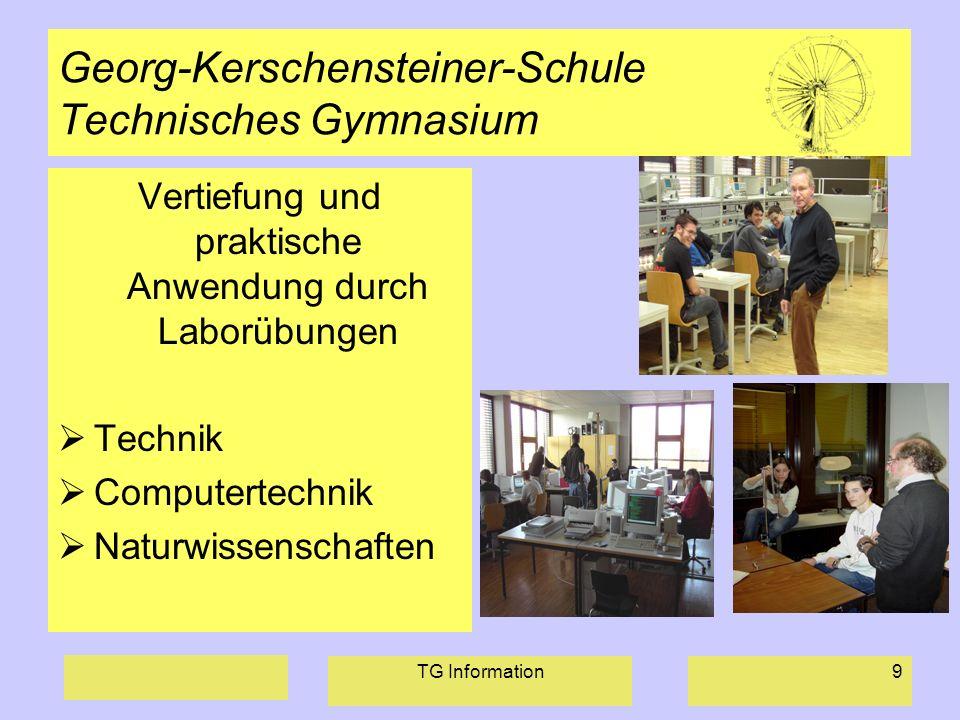 TG Information9 Georg-Kerschensteiner-Schule Technisches Gymnasium Vertiefung und praktische Anwendung durch Laborübungen Technik Computertechnik Natu