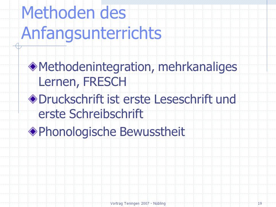 Vortrag Teningen 2007 - Nübling19 Methoden des Anfangsunterrichts Methodenintegration, mehrkanaliges Lernen, FRESCH Druckschrift ist erste Leseschrift