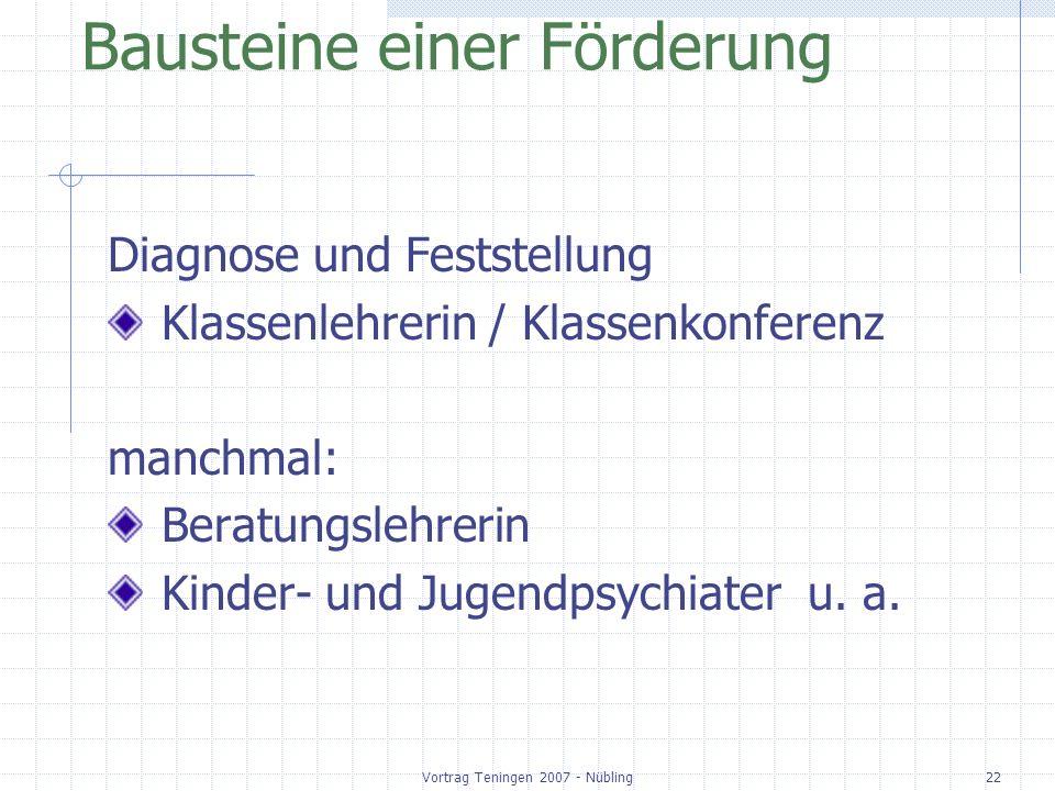 Vortrag Teningen 2007 - Nübling22 Bausteine einer Förderung Diagnose und Feststellung Klassenlehrerin / Klassenkonferenz manchmal: Beratungslehrerin K